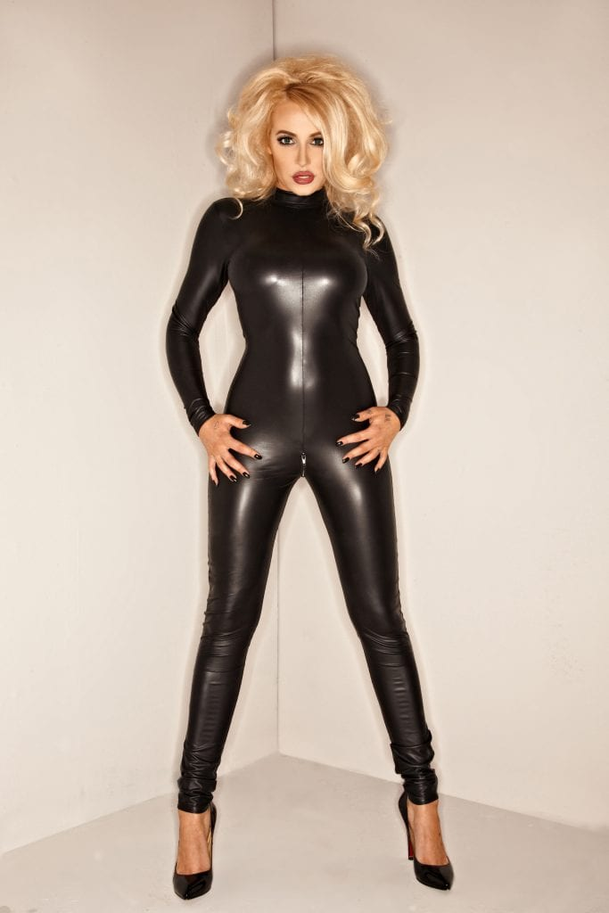 F052 women dominatrix black catsuit super sexy wear