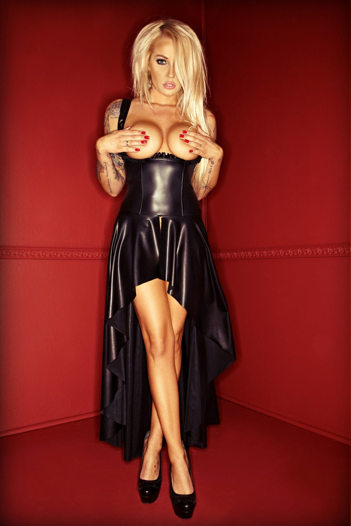 F069 ultra sexy women black long fetish dress revealing breasts with lace at the back
