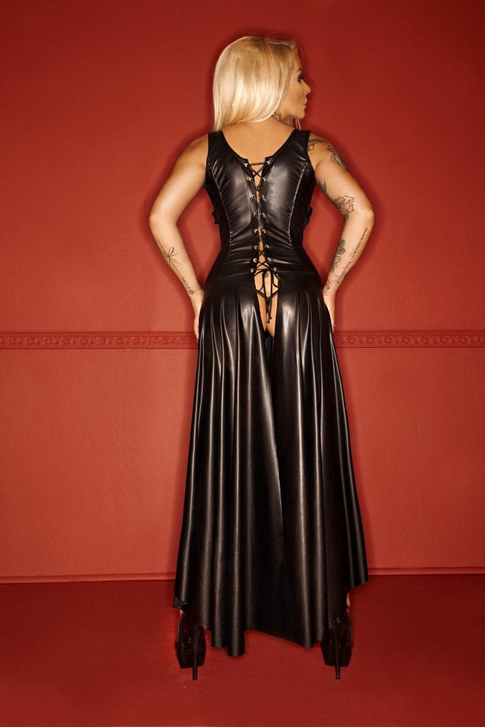 F069 ultra sexy women black long BDSM fetish dress revealing breasts with lace at the back