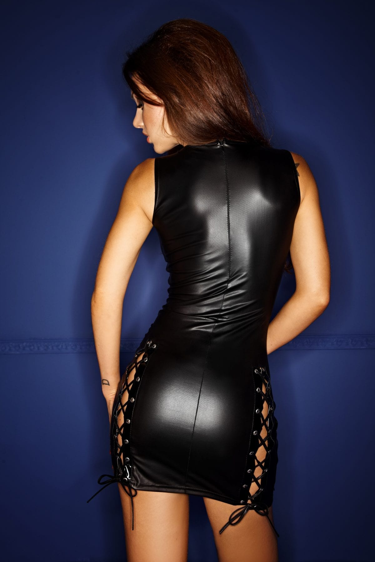 F079 women black fetish powerwetlook short dress with lace on chest and hip perfect for pole dancer clothing