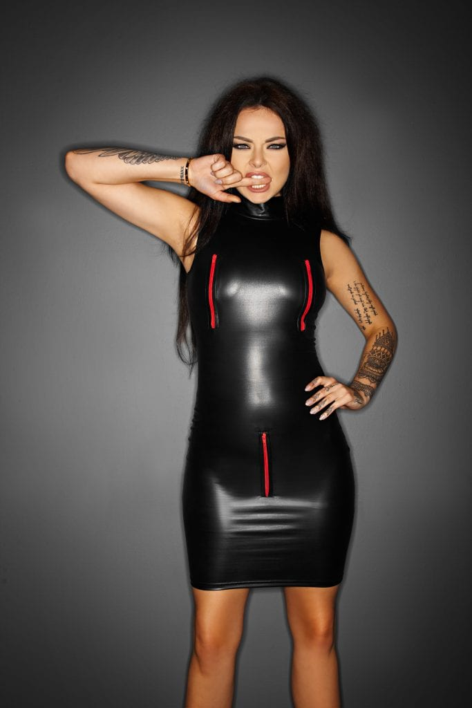 Noir Handmade F106 women Wet look mini Dress with red zippers for easy access
