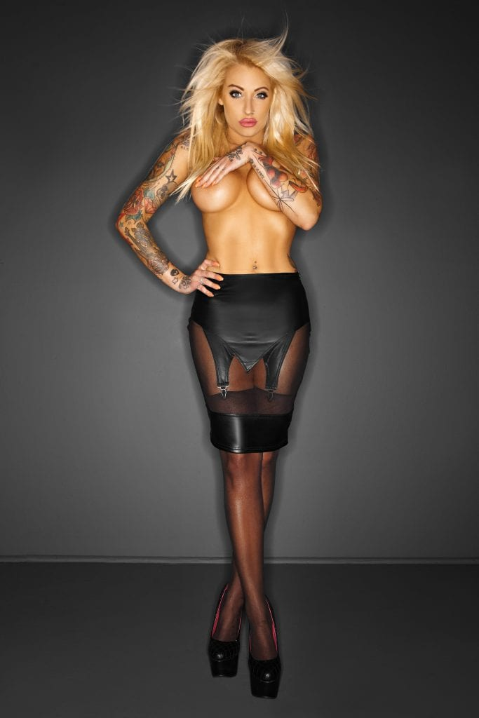 F110 women provocative black pencil skirt with tulle for exotic outfit