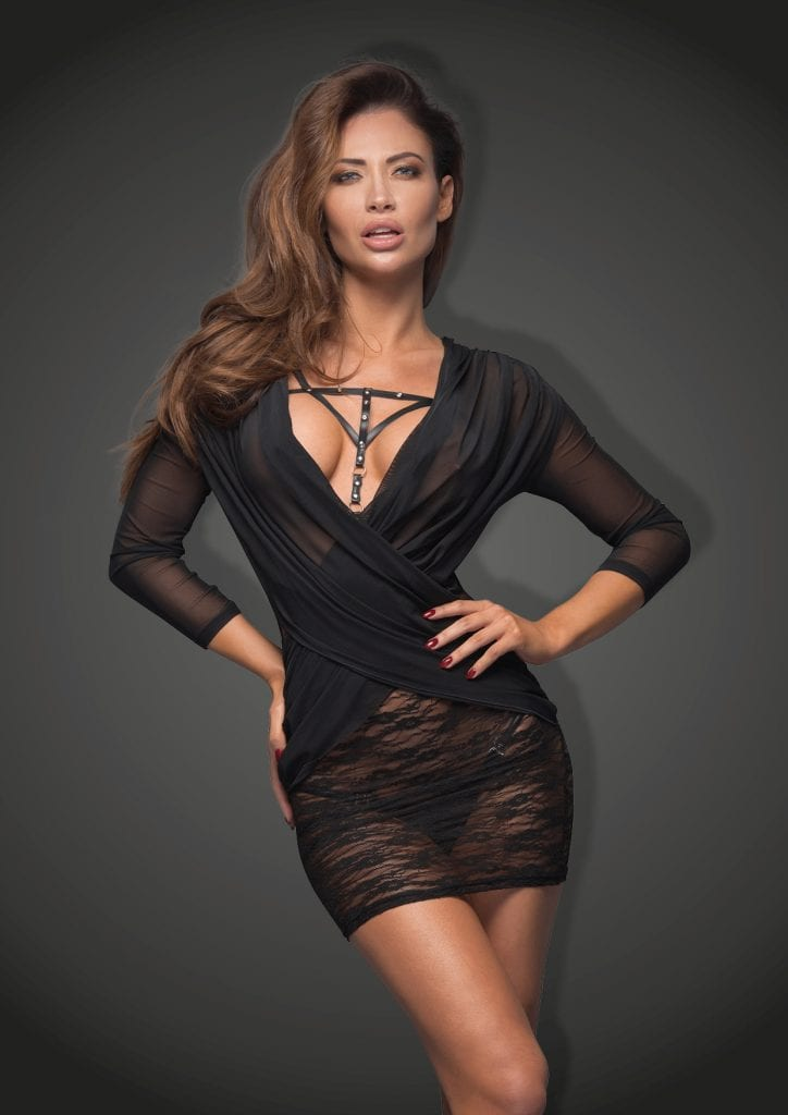 F113B women black bodycon mini dress with see-through lace for stripper clubwear