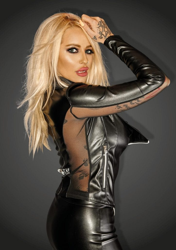 F123 women fetish clothing black wetlook jacket with silver zippers fetish gears