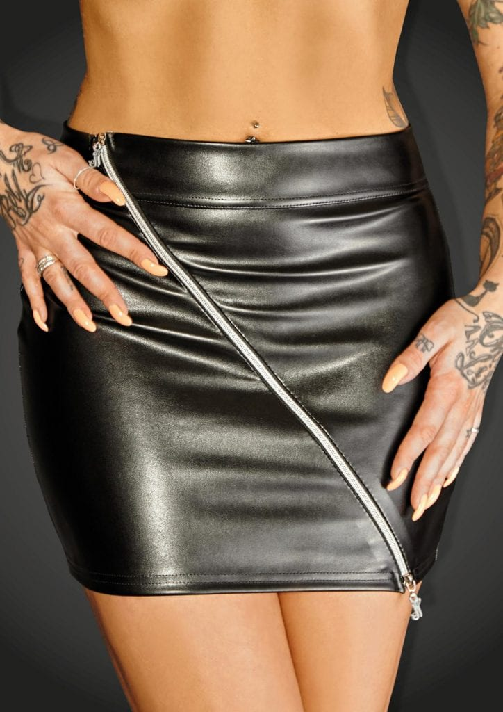 F126 women wetlook fetish designer wear black mini skirt with zipper best-seller for party clothing