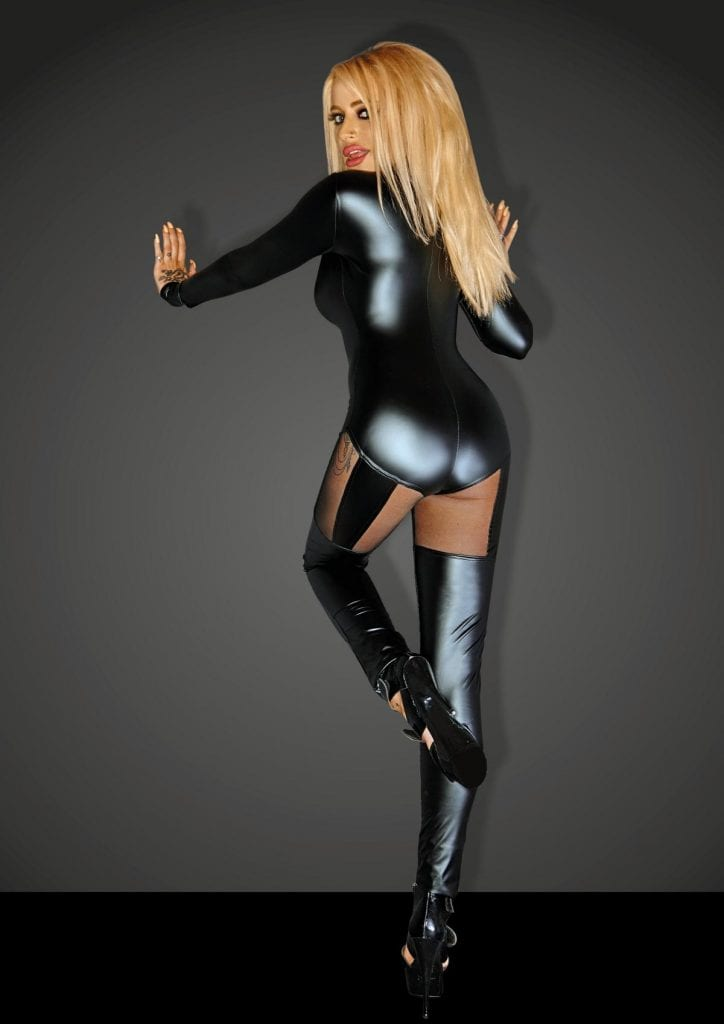 F136 women wetlook fetish wear black catsuit for nightclub outfit sexy jumpsuit