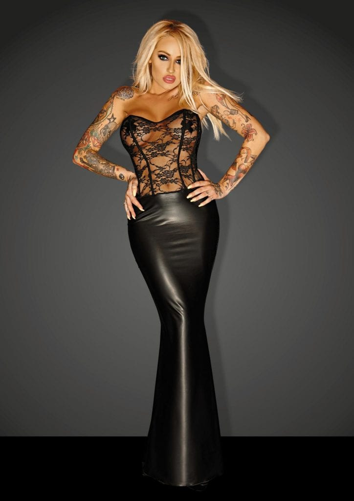 F140 women master wetlook long dress with lacing corset perfect for glamorous costume