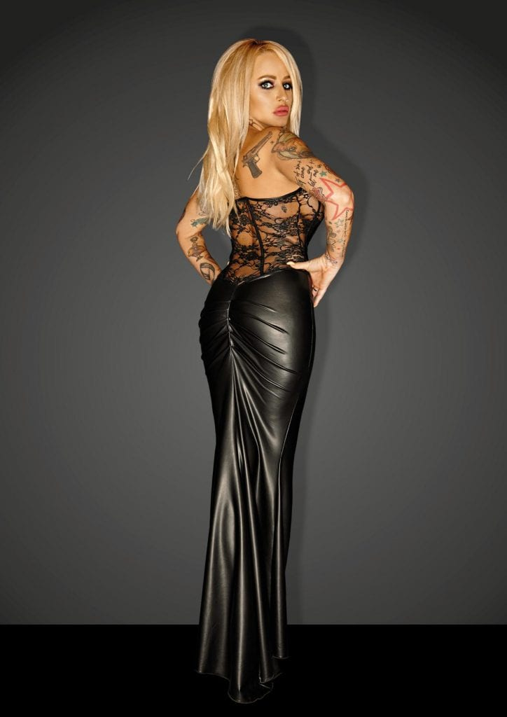 F140 women master wetlook black long dress with lacing corset perfect for glamorous evening costume