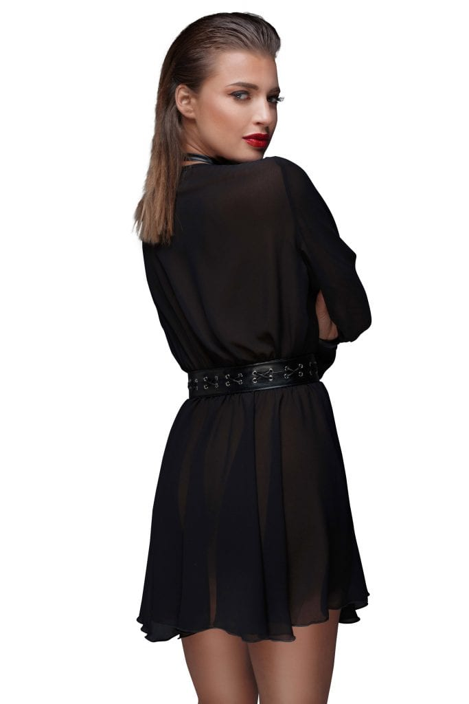 F150 women fetish clothing black chiffon short dress with choker elegant exotic style