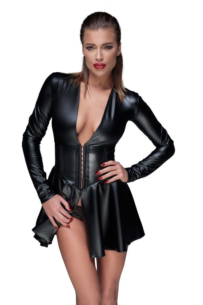 F154 women fetish wet look clothing beautiful black dress with corset with deep cut perfect for club wear