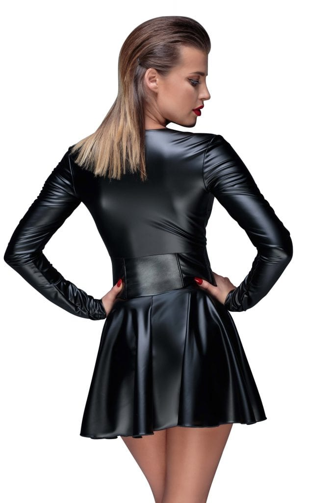 F154 women fetish wet look clothing beautiful black short dress with corset with deep cut perfect for club wear