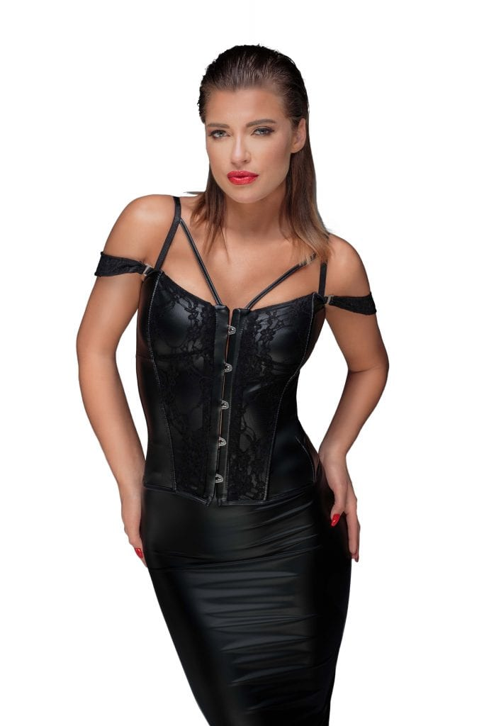 F159 wet look fetish women clothing black lace corset super elegant and sexy for sexy outfit
