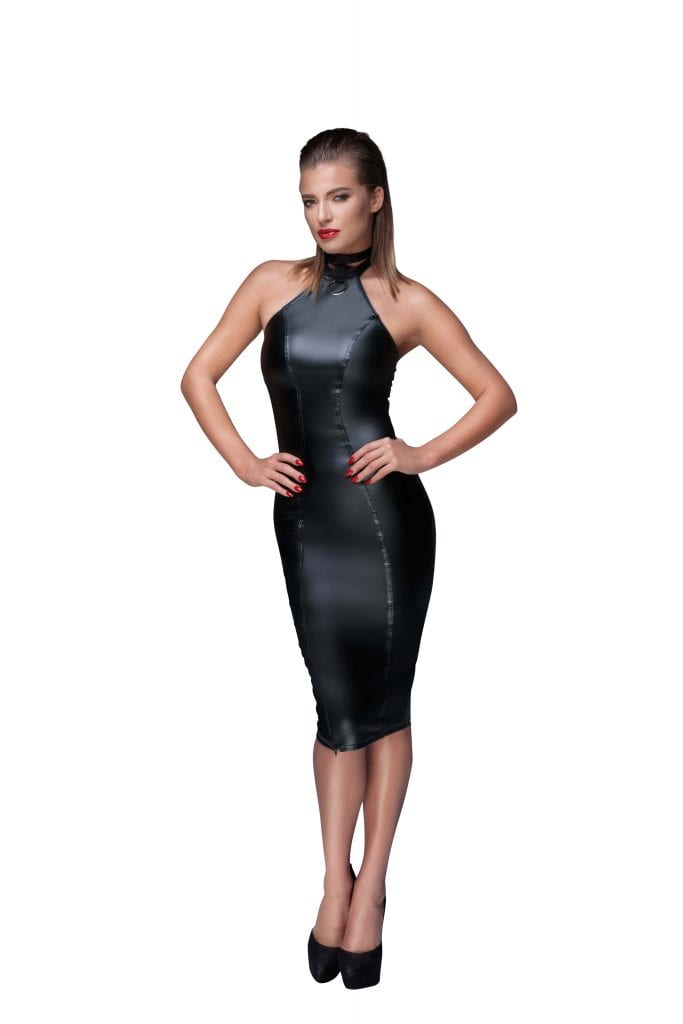F160 women wetlook fetish wear black pencil kinky dress sexy wear