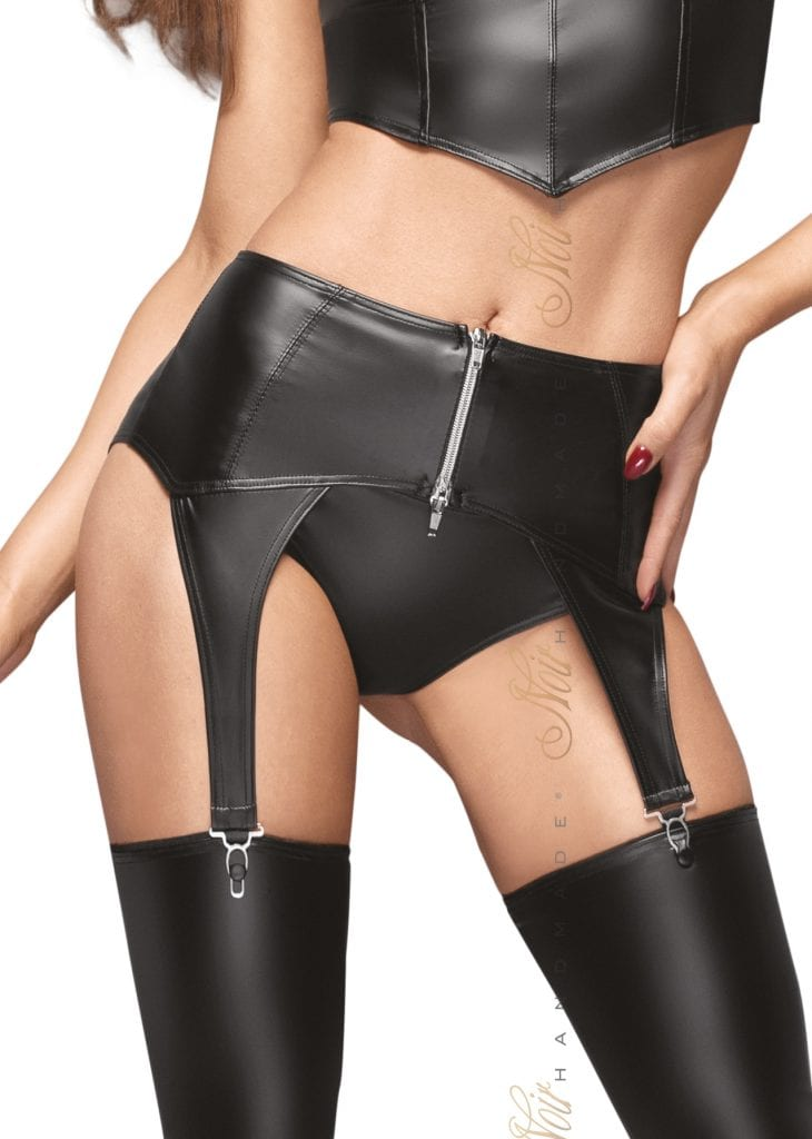 F166 women wetlook fetish lingerie black garter belt to complete your lingerie set