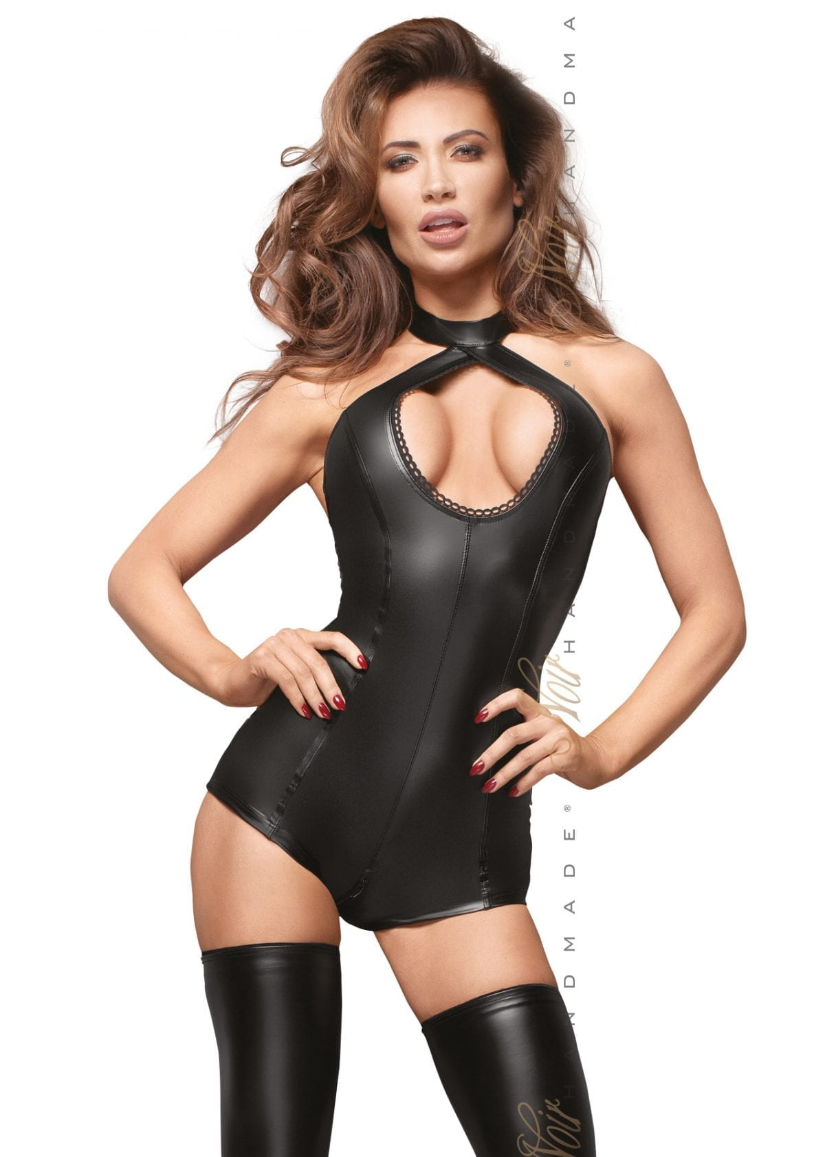 F169 women wetlook fetish clothing black bodysuit with lace around the breast for BDSM bondage wear