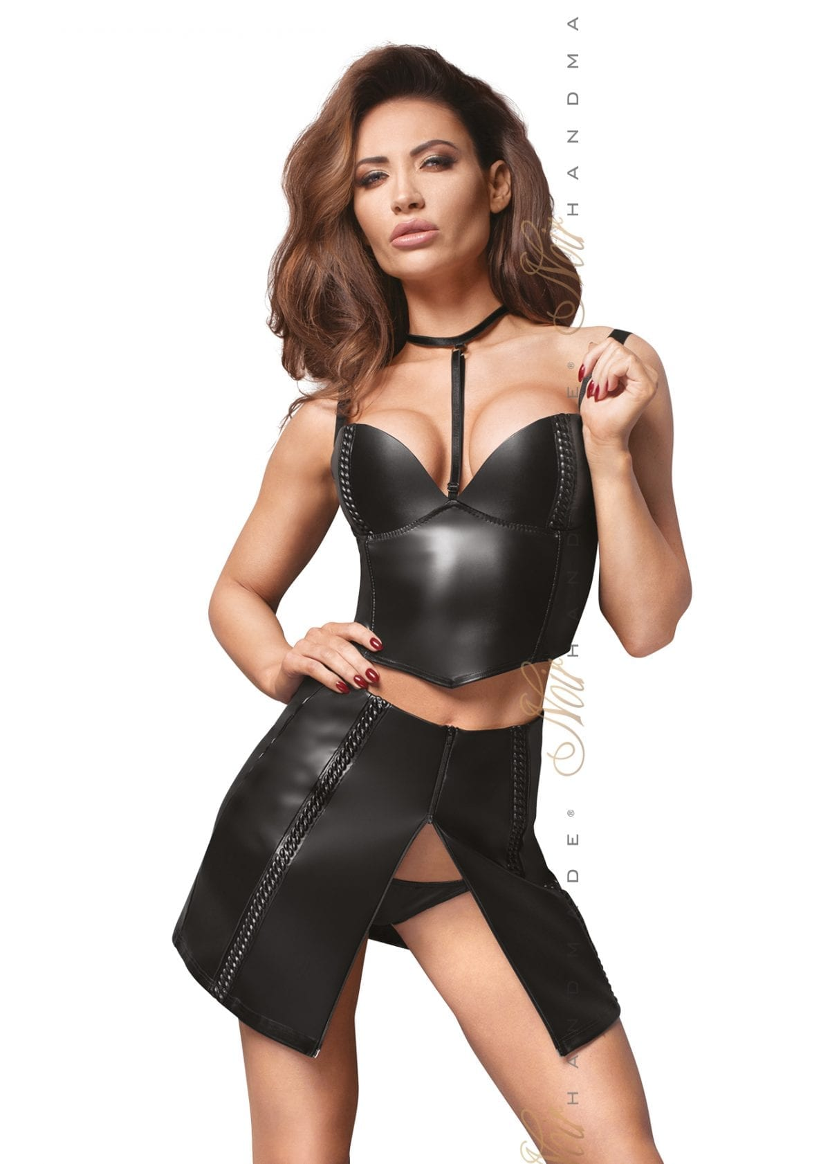 F170 women wetlook fetish wear sexy black crop top with choker for club wear