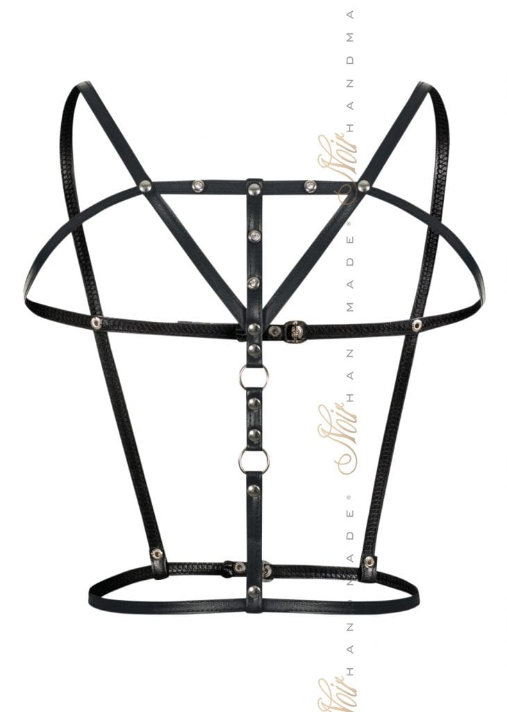 F173 women fetish lingerie black faux leather harness must have accressories