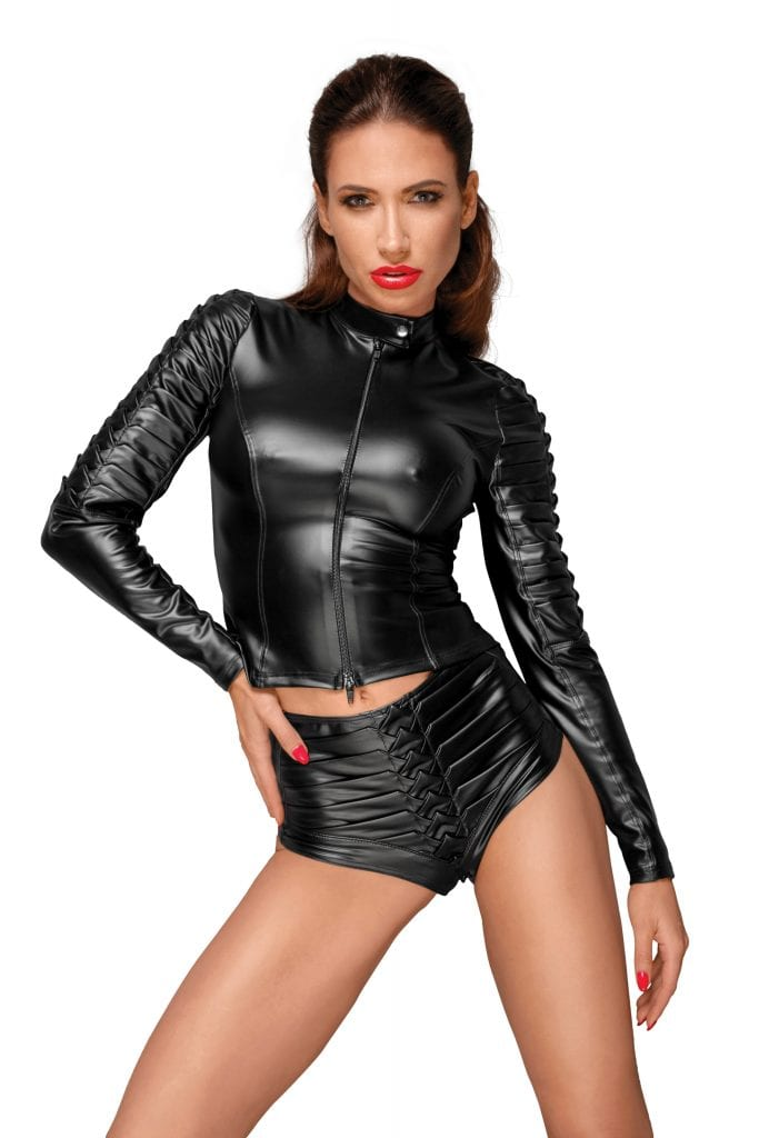 F175 women fetish clothing black wetlook jacket with handmade details on sleeves fetish gears