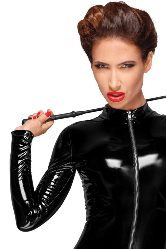 F188 women PVC fetish clothing famous black PVC body catsuit with easy access zipper for fetish party and BDSM