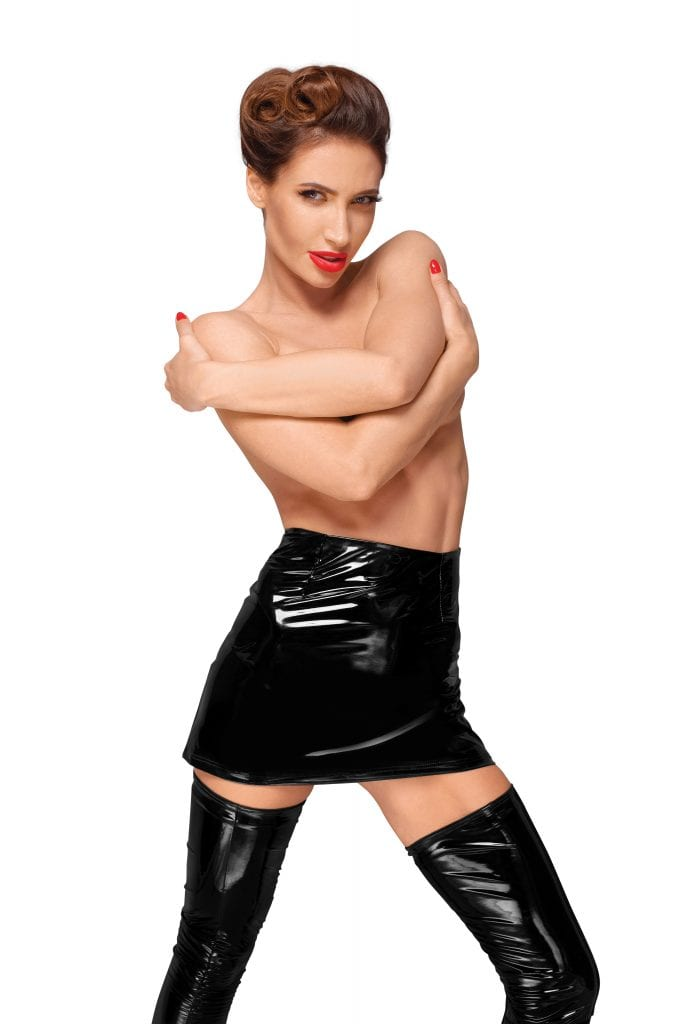 F189 women PVC fetish sexy wear essential black shinny mini skirt for all sexy occasions