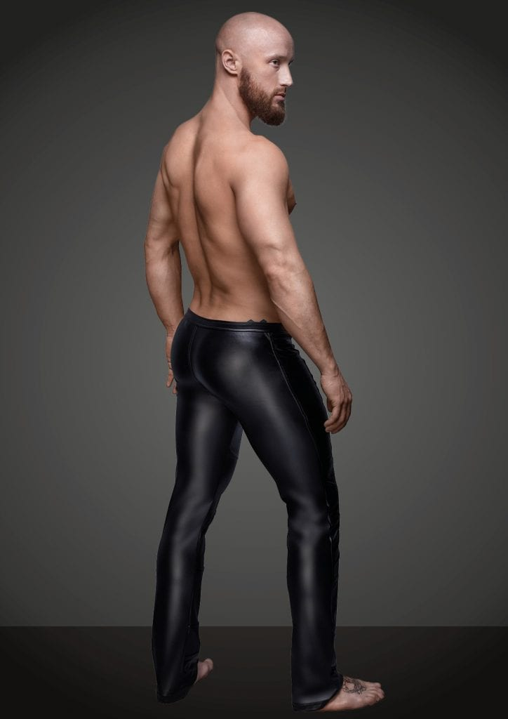 H021 men BDSM wetlook outfit black sexy long pants for fetish wear