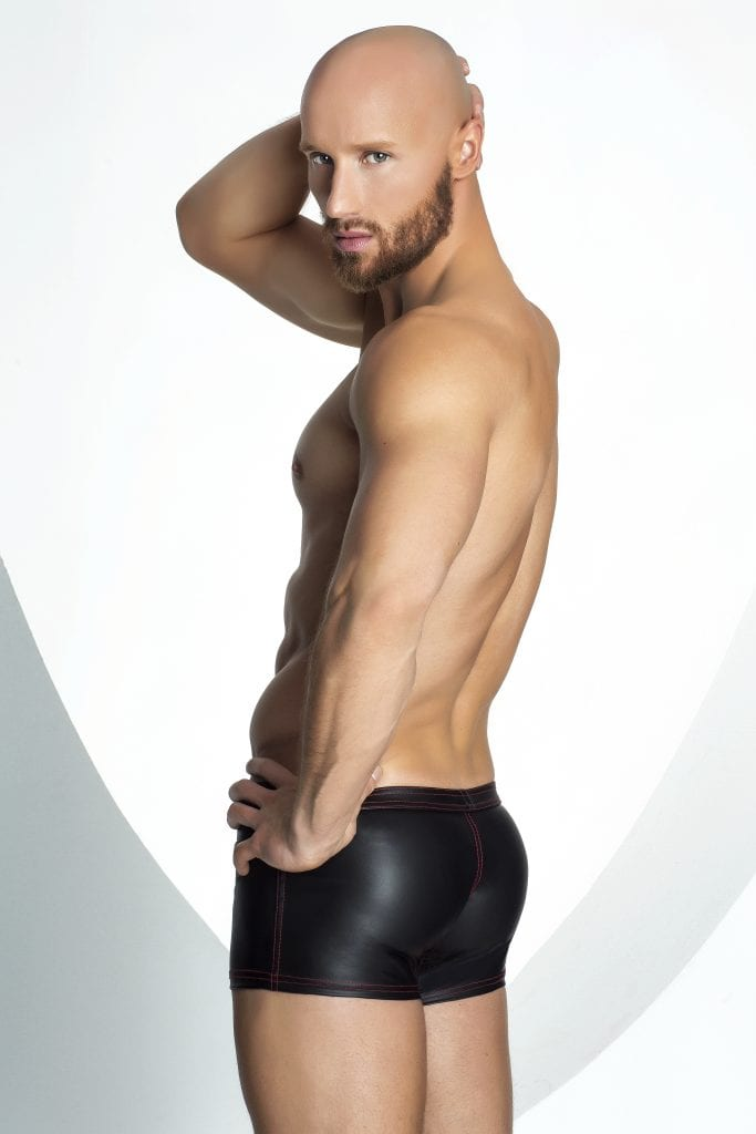 H028 men sexy part wear black wetlook fetish short with sexy red zippers