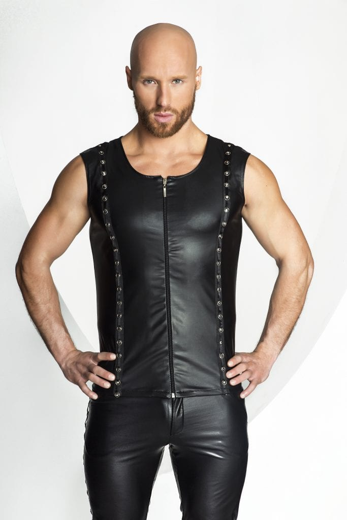 H036 men black vest shirt with studs for tough look clubbing outfits