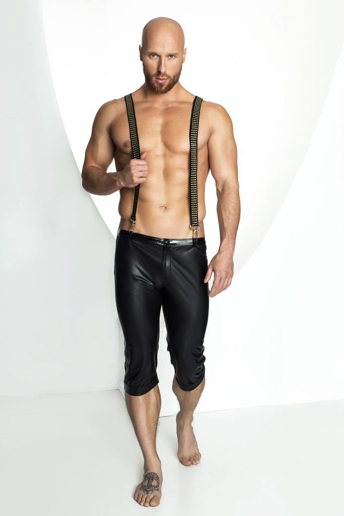 H037 men fetish bondage outfit wetlook black pants with suspender for dress up party