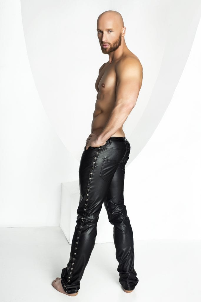 H039 men wetlook bondage wear balck long pant with studs on the sides for party night out