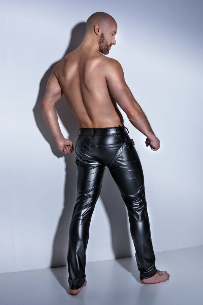 H042 men wetlook fetish wear black Easy Access Long Pants with Harness for nightclube outfit