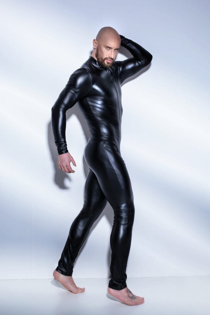 H043 sexy outfit men wetlook fetish clothing black overall bodysuit