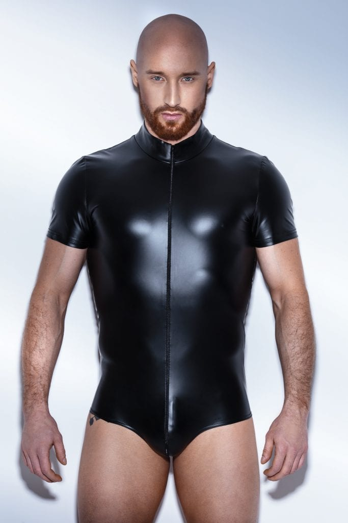 H045 Men fetish wetlook black bodysuit with zipper for strong look clubwear