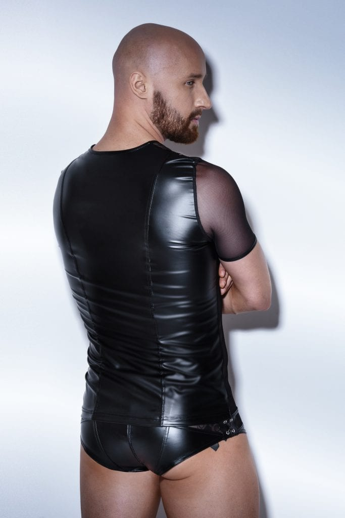 H047 wetlook fetish black shirt with see-through tulle for gay clubwear