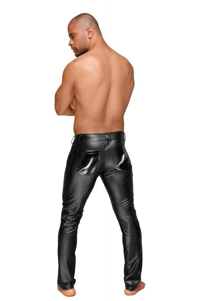 H051 men wetlook fetish clothes black long pants for party wear