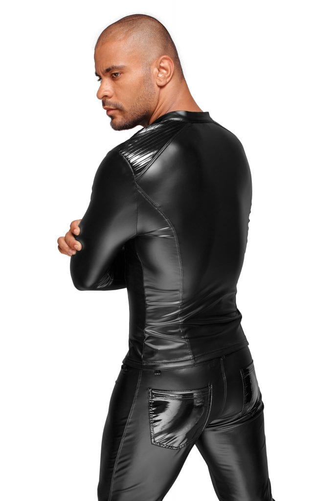 H052 Wetlook fetish wear men black tough look jacket with zip
