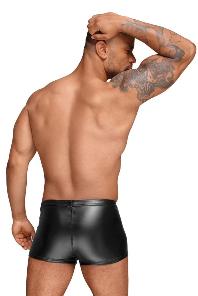 H054 men wetlook fetish wear black short with PVC handmade details perfect for clubbing outfit