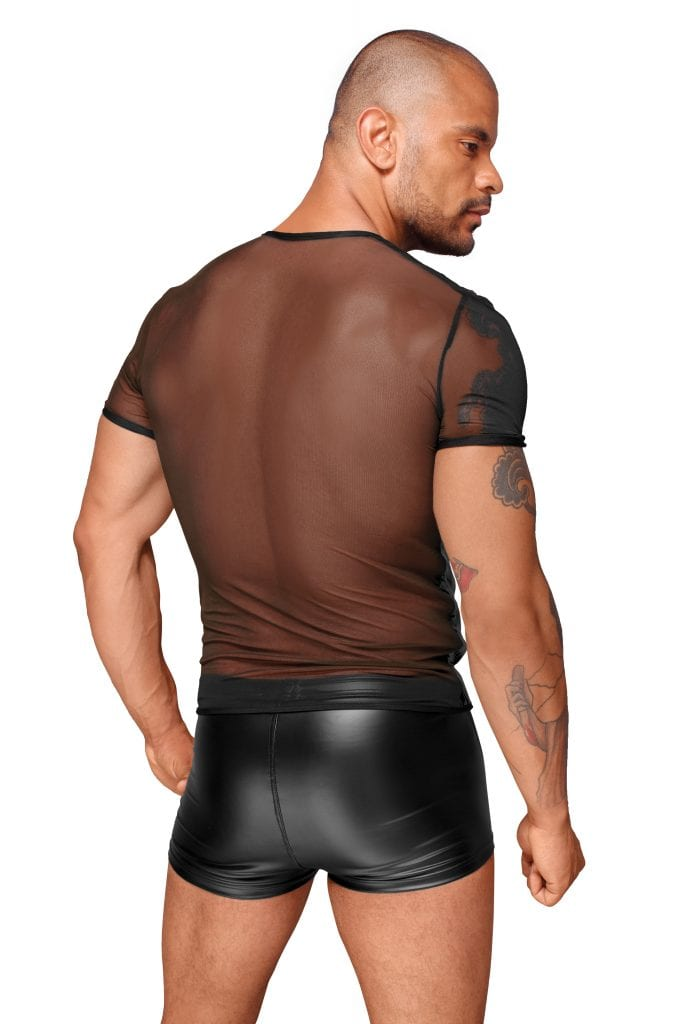 H055 men wetlook fetish outfit for nightclub wear black T-shirt with tulle