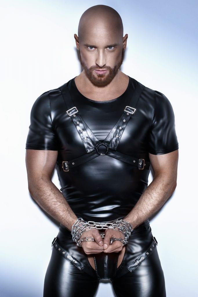 H041 men wetlook master wear black T-shirt with faux leather harness on chest for BDSM